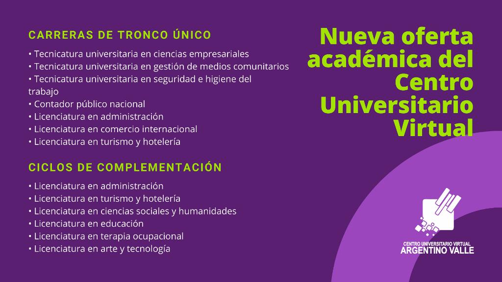 Nueva oferta académica del Centro Universitario Virtual