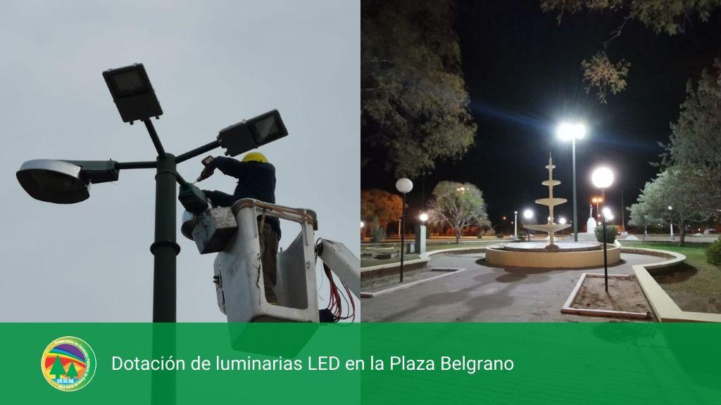 Dotación de luminarias LED en la Plaza Belgrano