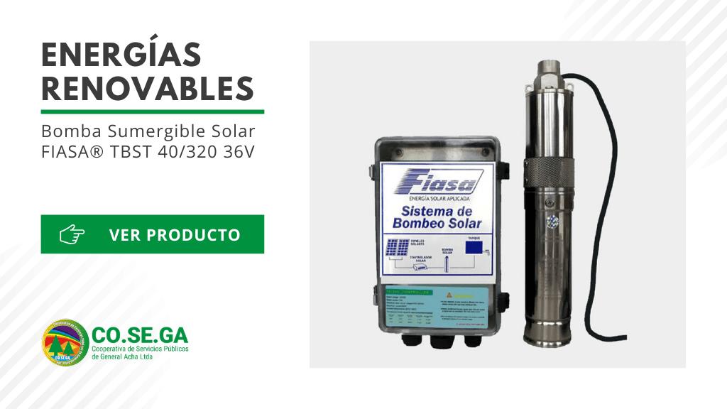 Bomba Sumergible Solar FIASA® TBST 40/320 36V
