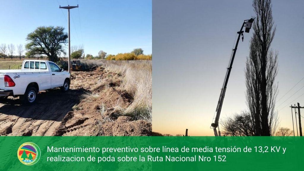 Mantenimiento preventivo sobre línea de media tensión de 13,2 KV y realización de poda sobre la Ruta Nacional Nro 152