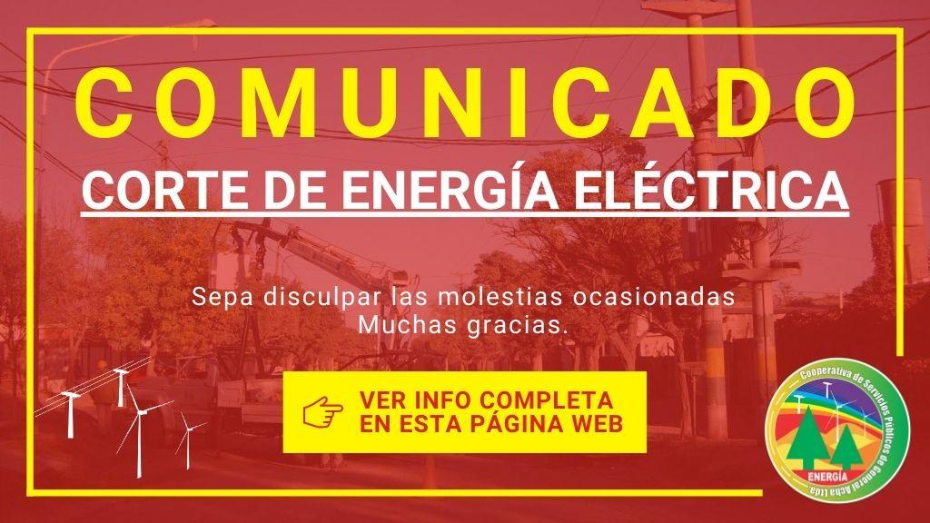 Corte de servicio de Energía Eléctrica por trabajos en Banco de La Nación Argentina.