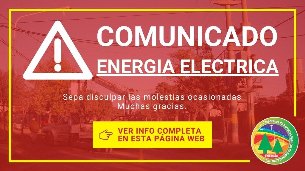 Comunicado: Problemas técnicos en la prestación del servicio de energía eléctrica.