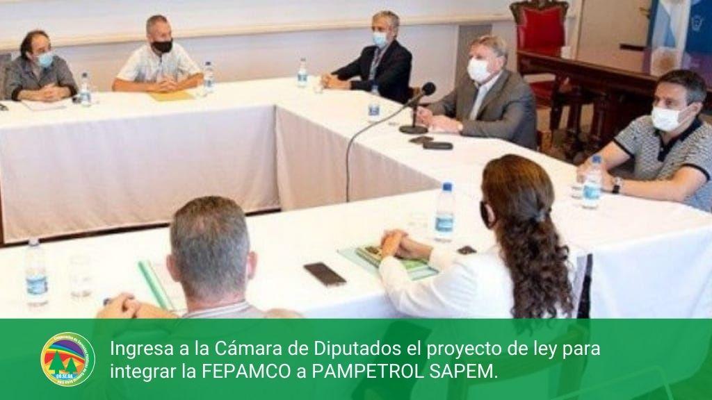 Ingresa a la Cámara de Diputados el proyecto de ley para integrar la FEPAMCO a PAMPETROL SAPEM.