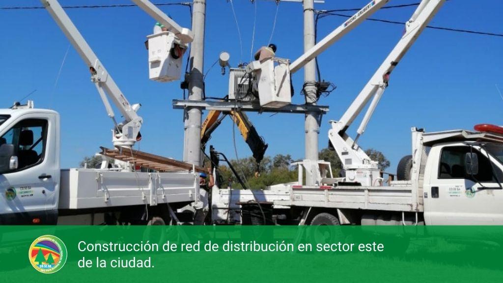 Construcción de red de distribución en sector este de la ciudad.