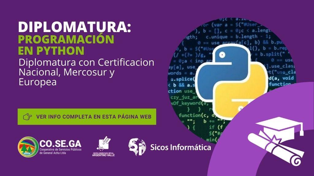 Diplomatura en Programación en Python – Certificacion Nacional, Mercosur y Europea