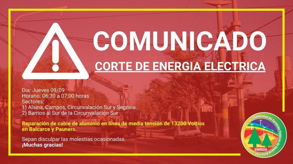 Corte de servicio de Energía Eléctrica.