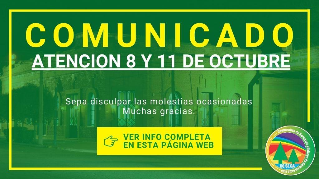 Comunicado: Atención Viernes 8 y Lunes 11 de Octubre.