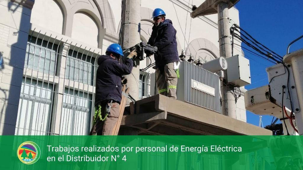 Trabajos realizados por personal de Energía Eléctrica en el Distribuidor N° 4.